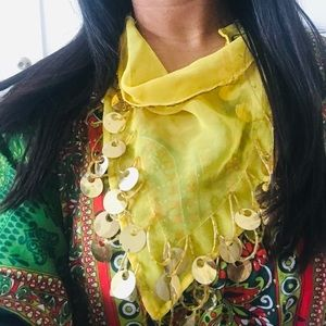 3-Way Yellow Coin Scarf